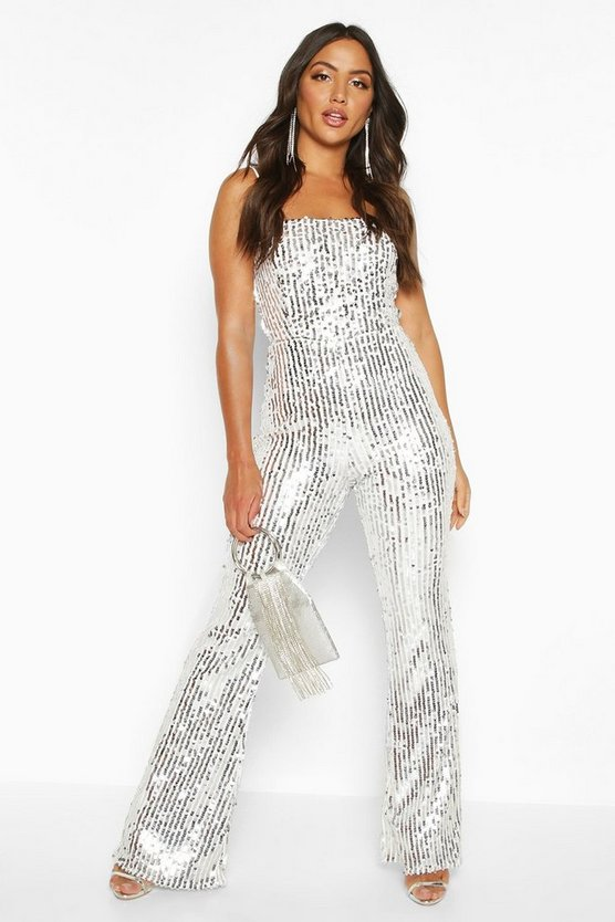 Silver Sequin Cami Flared Leg Jumpsuit