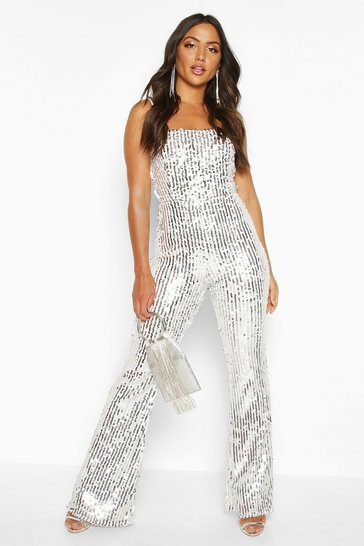 Womens Silver Sequin Cami Flared Leg Jumpsuit