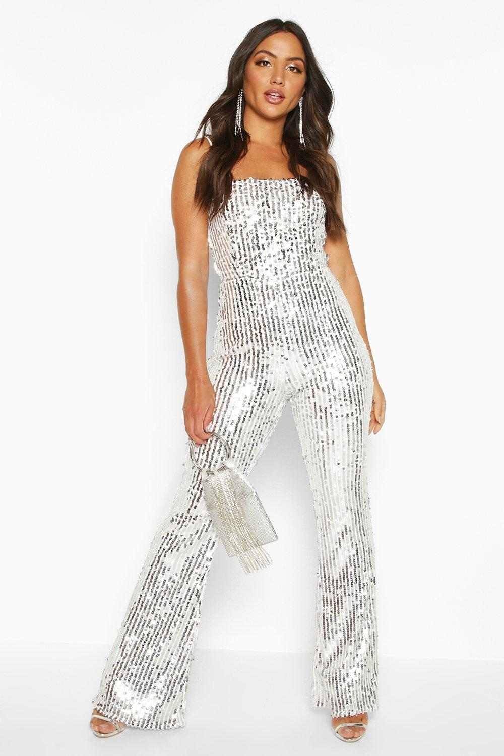 promotion well known Discover Sequin Cami Flared Leg Jumpsuit | Boohoo