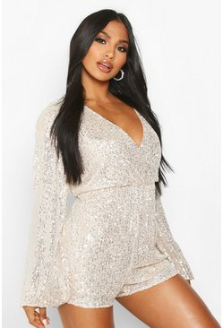 Womens Nude Blouson Sleeve Wrap Front Sequin Playsuit