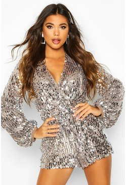 Womens Mauve Blouson Sleeve Sequin Playsuit