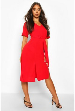 Womens Red Ruffle Sleeve Belted Midi Dress