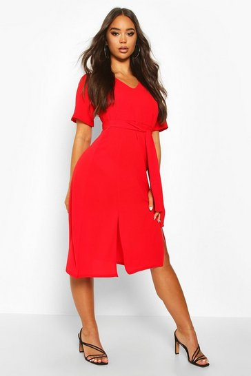 Red Ruffle Sleeve Belted Midi Dress