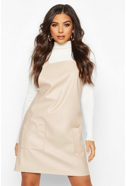 Womens Stone Faux Leather Pinafore Dress