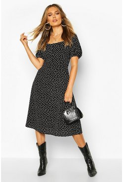 Womens Black Polka Dot Button Fron Midi Dress