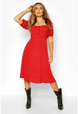 Rust Polka Dot Button Fron Midi Dress
