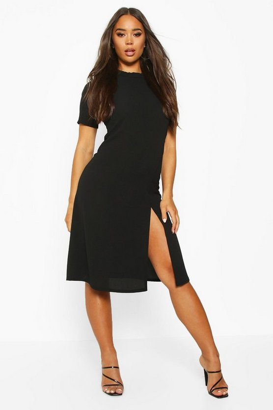 Womens Black High Neck Midi Dress