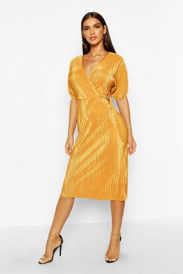 Mustard Plisse Buckle Wrap Midi Dress