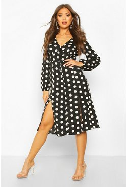Black Polka Dot Split Front Woven Midi Dress
