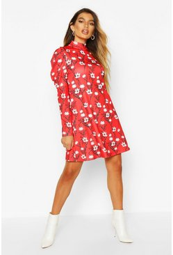 Red Floral High Neck Puff Sleeve Swing Dress