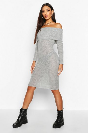 Womens Grey Brushed Roll Over Bardot Midi Dress