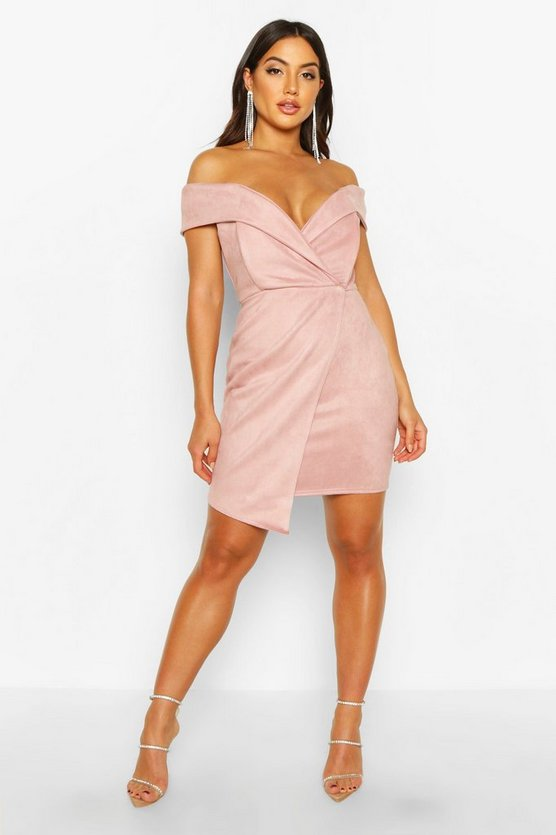Womens Nude Off The Shoulder Bonded Suede Mini Dress