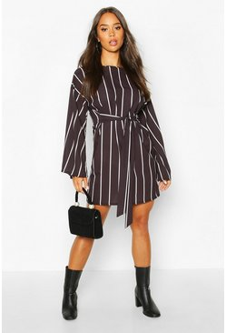Womens Black Flared Sleeve Stripe Belted Shift Dress