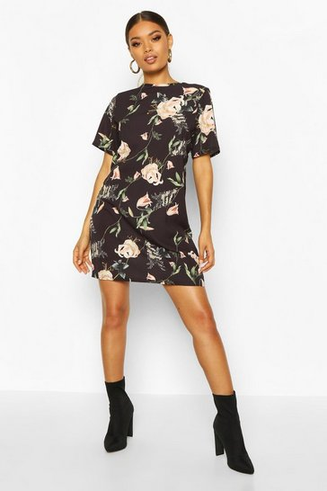 Womens Black Floral Print Short Sleeve Shift Dress