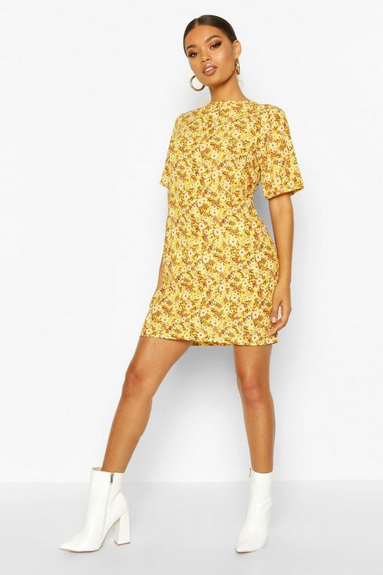 Mustard Short Sleeve Floral Print Shift Dress
