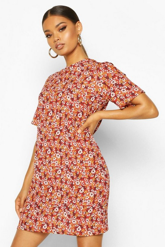 Rust Short Sleeve Floral Print Shift Dress