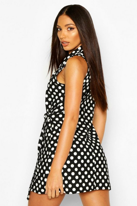 Polka Dot Wrap Collared Blazer Dress