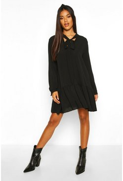 Womens Black Pussybow Drop Hem Smock Dress