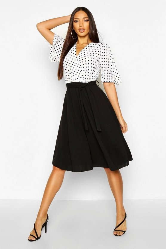 Polka Dot Belted Contrast Midi Skater Dress Polka Dot Belted Contrast Midi Skater Dress by Boohoo
