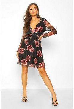 Womens Black Floral Mesh Sleeve Skater Dress