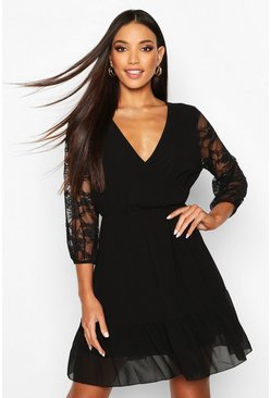 Black Woven Lace Sleeve Wrap Skater Dress