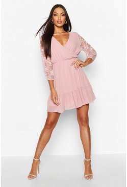 Womens Soft pink Woven Lace Sleeve Wrap Skater Dress