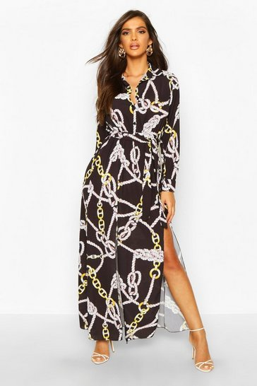 Womens Black Woven Chain Print Tie Belt Midi Dress