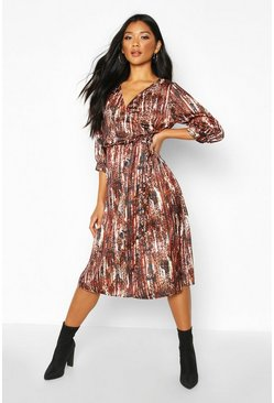 Womens Natural Woven Leopard Wrap Sleeve Midi Dress