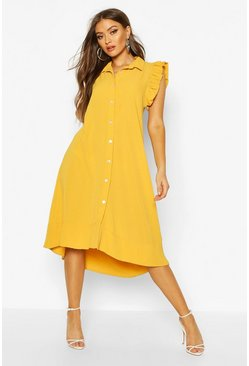 Womens Mustard Woven Frill Sleeveless Midi Dress