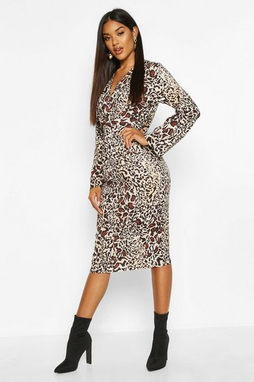 Womens Natural Woven Plunge Knot Leopard Midi Dress