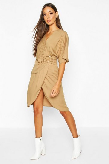 Womens Stone Woven Ring Detail Wrap Midi Dress