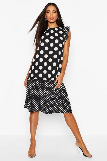 Womens Black Polka Dot Drop Hem Midi Dress