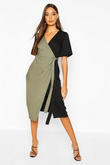 Womens Black Contrast Wrap Midi Dress