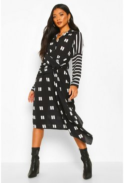 Womens Black Mix Print Knot Midi Dress