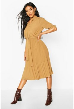 Camel Pleated Collarless Midi Skater Dress