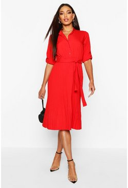 Womens Red Pleated Collarless Midi Skater Dress