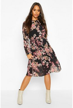 Black Floral Pussy Bow Pleated Midi Dress