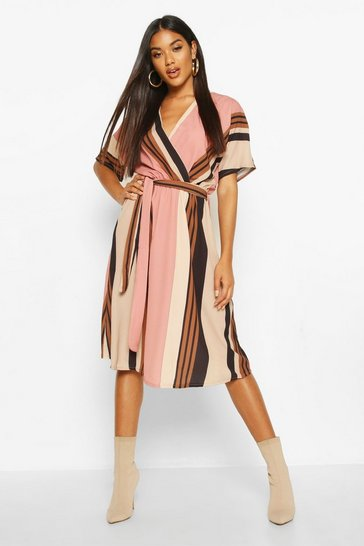Womens Pink Stripe Belted Wrap Midi Dress