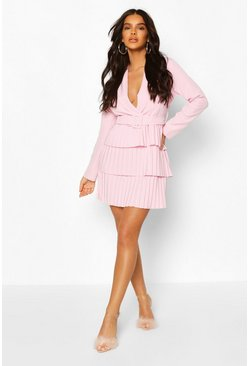 Pastel pink Belted Pleated Detail Blazer Dress