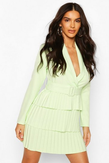 Washed lime Belted Pleated Detail Blazer Dress