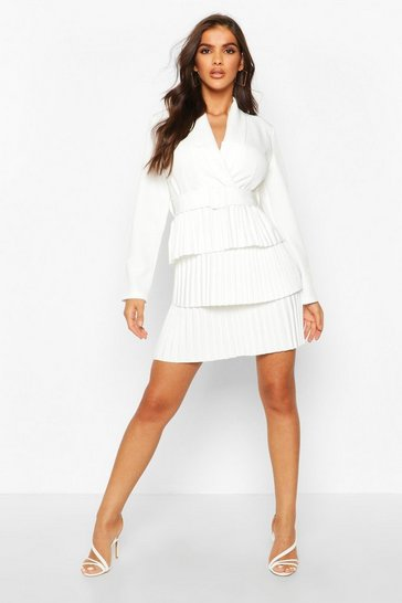 Womens White Belted Pleated Detail Blazer Dress