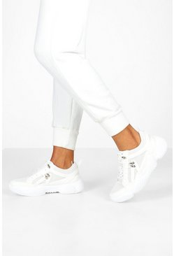 Womens White Bubble Sole Chunky Hiker Trainers