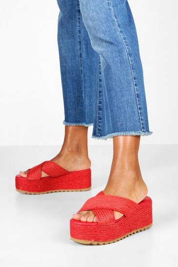 Womens Red Cross Front Espadrille Flatforms