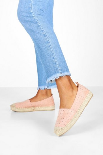 Womens Nude Studded Espadrilles