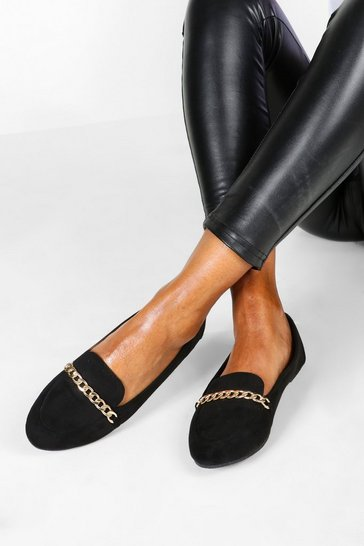 Womens Black Chain Slipper Ballets