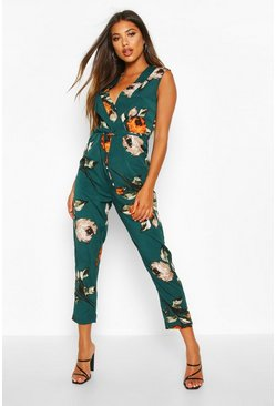 Womens Green Large Floral Wrap Jumpsuit