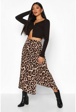 Gonna longuette leopardata con spacco, Marrone, Femmina