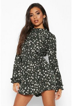 Womens Green Leopard Print Ruffle Playsuit