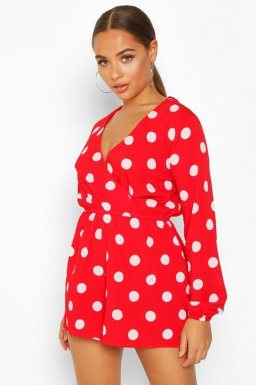 Womens Red Large Scale Polka Dot Playsuit