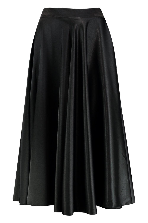 Victorian Skirts | Bustle, Walking, Edwardian Skirts Satin Full Midi Skirt  AT vintagedancer.com